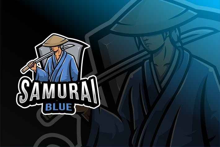 Samurai Blue Esport Logo Template