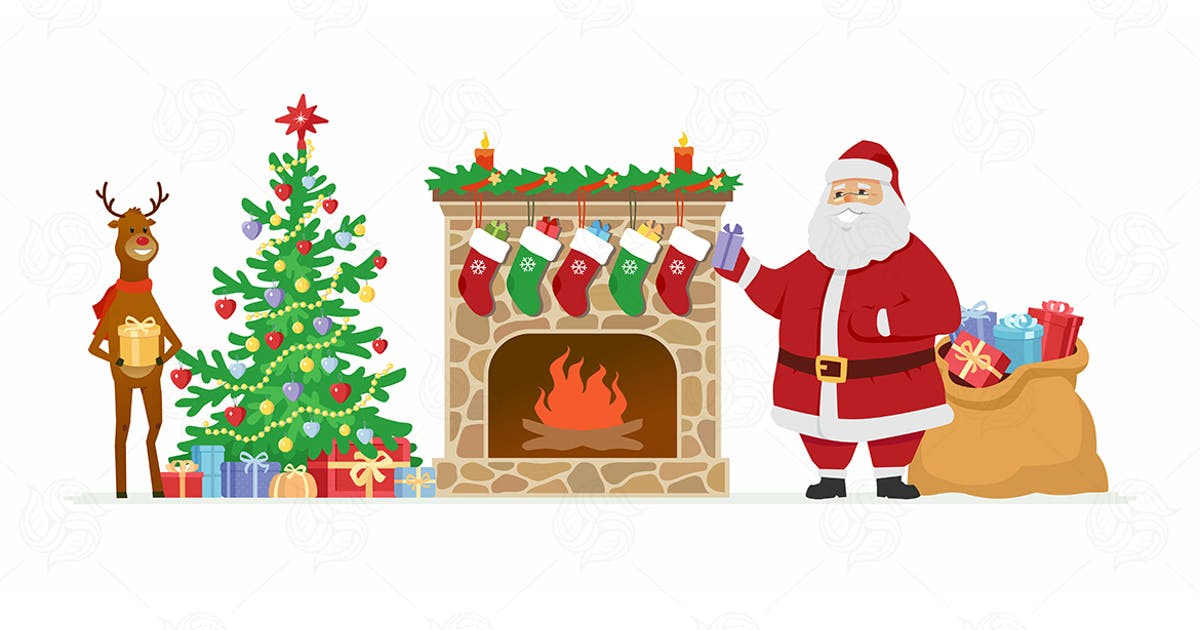 Download Santa and reindeer - cartoon illustration by BoykoPictures