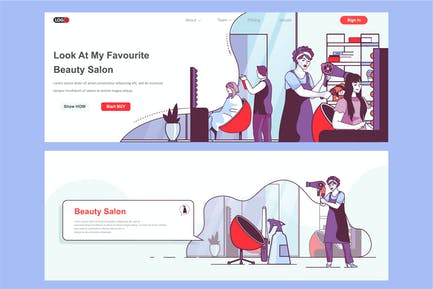 Beauty Salon Header Footer or Middle Content