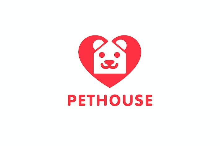 Thumbnail for PetHouse - Heart , House and Dog Symbol Logo