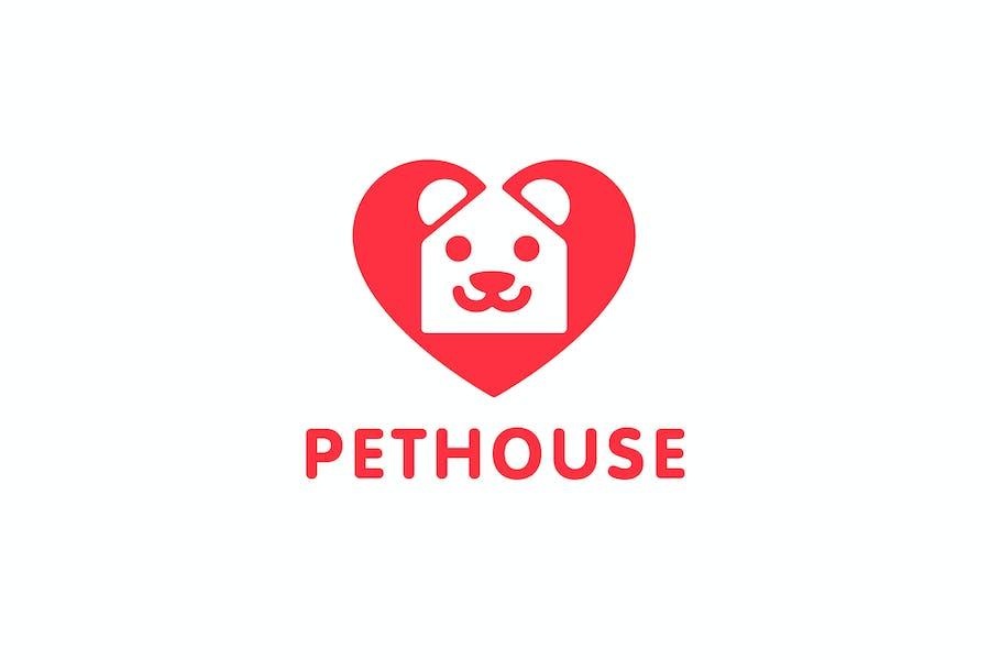 PetHouse - Heart , House and Dog Symbol Logo