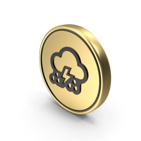 Thunder Cloud Rainy Coin Logo Icon