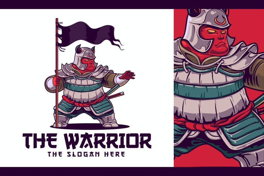 Japanese Warrior Character Mascot Logo - product preview 0