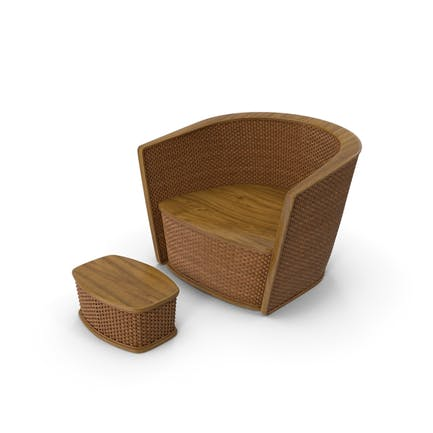 Wicker Armchair with Ottoman