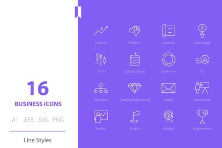 Business Marketing & Finance Line Icons