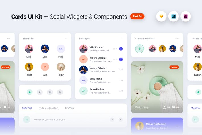 Thumbnail for Cards UI Kit - Social Network Widgets & Components