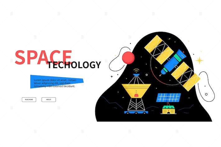 Thumbnail for Raumfahrttechnik - flaches Design Stil WebBanner
