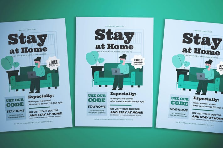 Stay At Home Advice Flyer