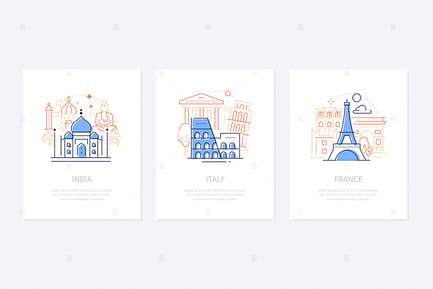 Traveling and sightseeing - line design banners