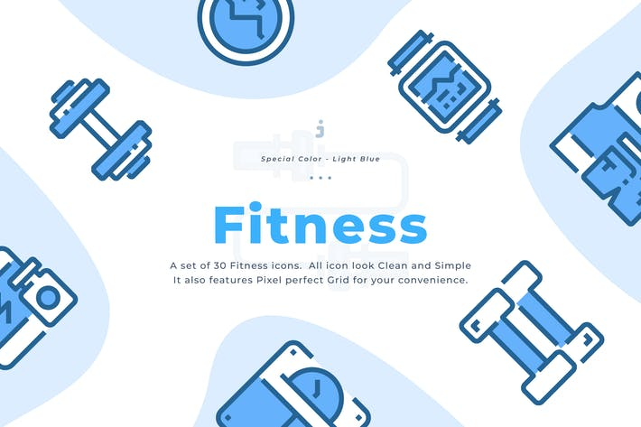 Thumbnail for 30 Fitness Icons - Light Blue