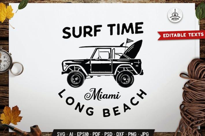 Surf Time Logo Template. Long Beach Miami Emblem