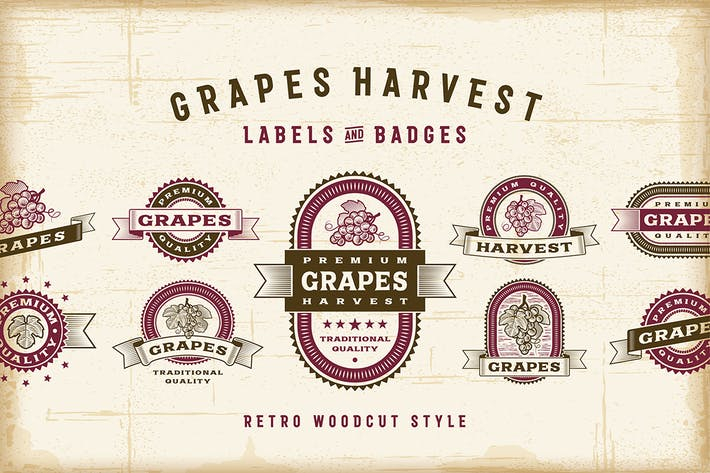 Thumbnail for Vintage Grapes Labels Set