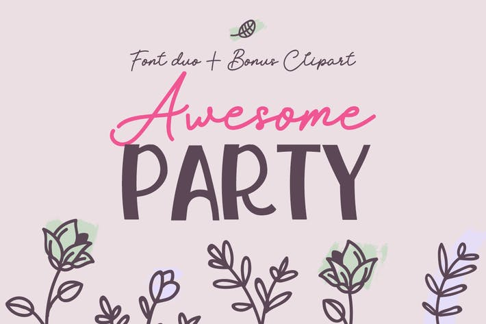 Thumbnail for Awesome Party Font Duo con garabatos