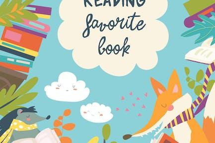 Lindo marco compuesto de animales leyendo libros.