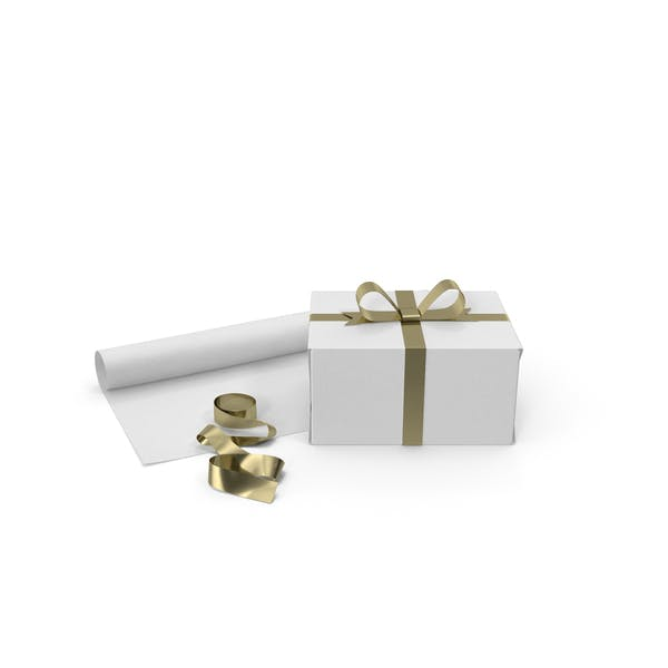 White Gift Box with Paper Roll and Gold Foil Ribbon