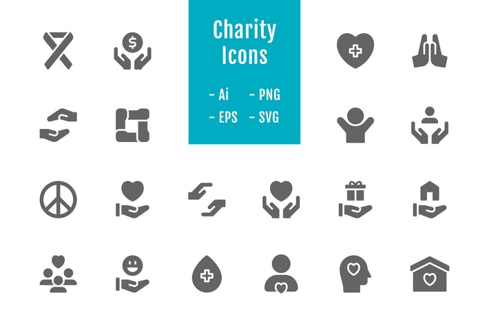 Thumbnail for 20 Charity Icons (Solid)