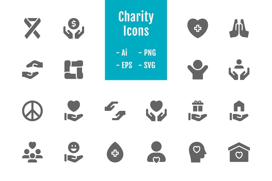 20 Charity Icons (Solid)
