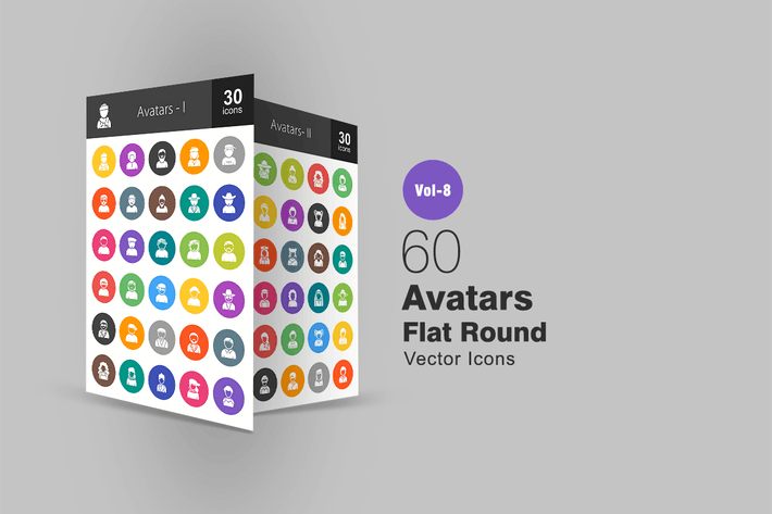 Thumbnail for 60 Avatars Flat Round Icons