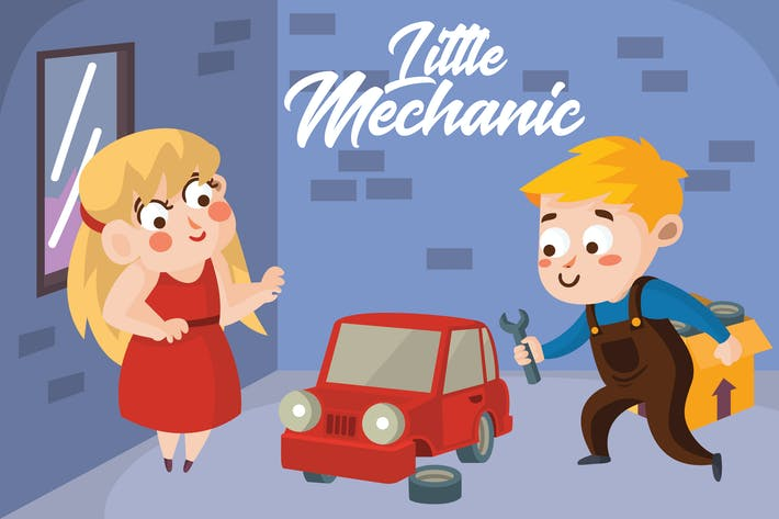 Thumbnail for Little Mechanic - Vector Illustration