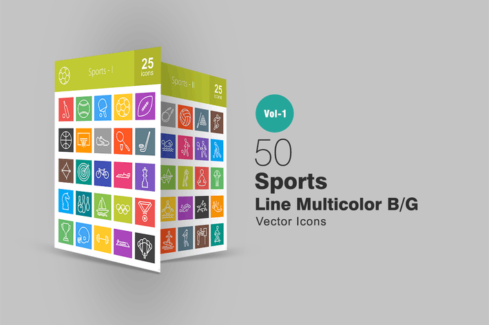 Thumbnail for 50 Sports Line Multicolor Icons