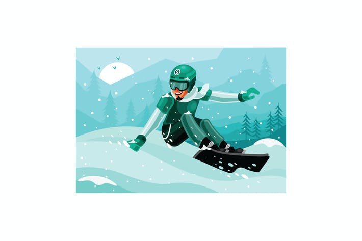 Thumbnail for Snowboarder Winter Illustration