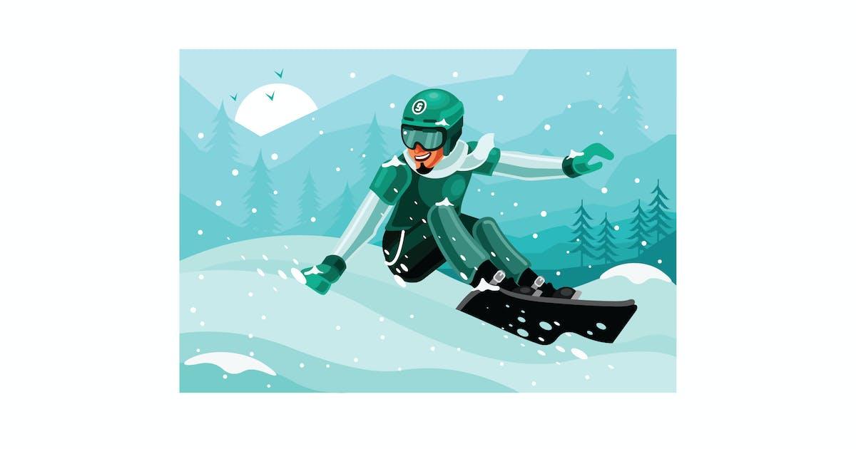 Snowboarder Winter Illustration by IanMikraz