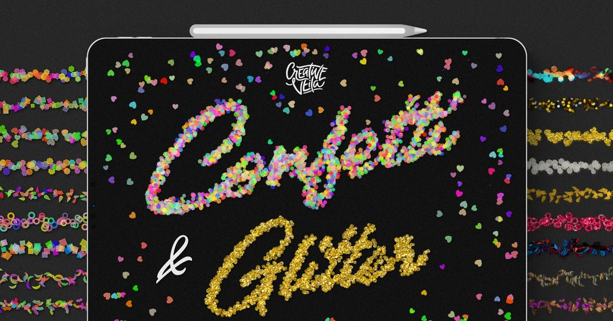 Download Confetti and Glitter Procreate Brushes Pack by Veila