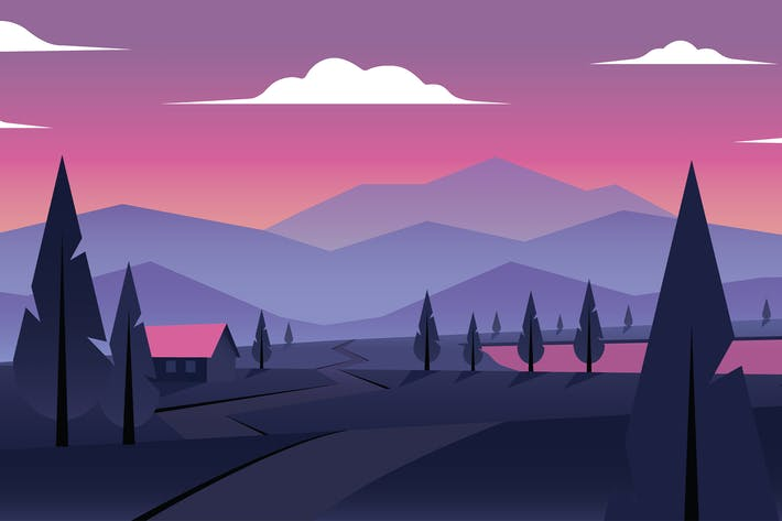 Thumbnail for Sunset in the Mountains - Landscape Illustration