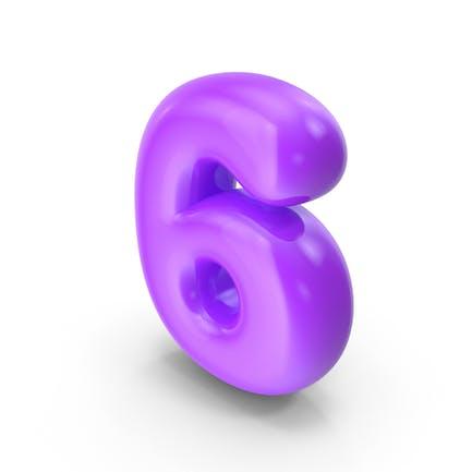 Lila Toon Ballon Nummer 6