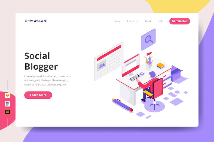 Thumbnail for Social Blogger - Landing Page