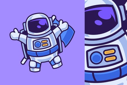 Cartoon Character Astronaut Floating and Waving