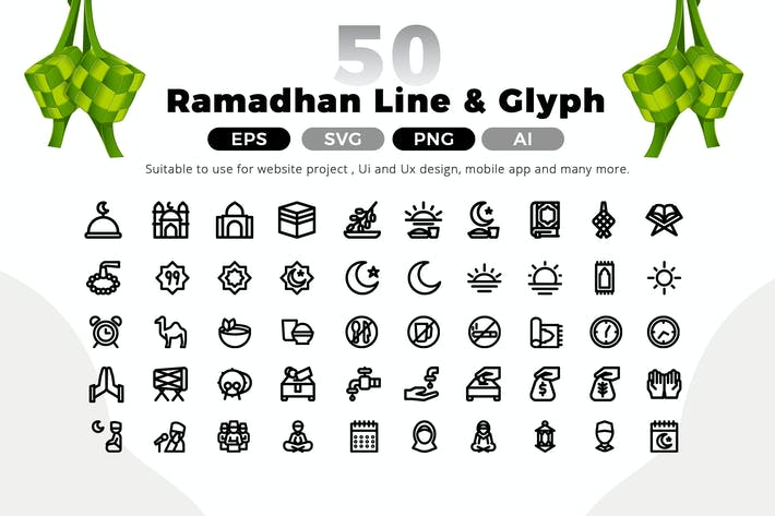 Thumbnail for Ramadan Line Icon Pack