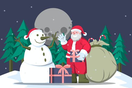 Santa Claus and Snowman - Christmas Illustration