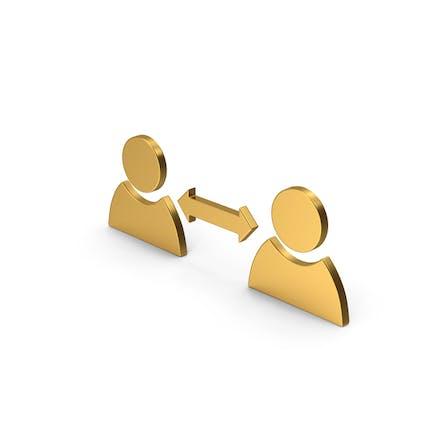 Símbolo personas conectan oro