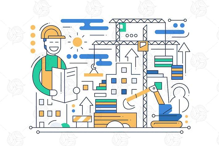 Thumbnail for Construction Site - line design composition