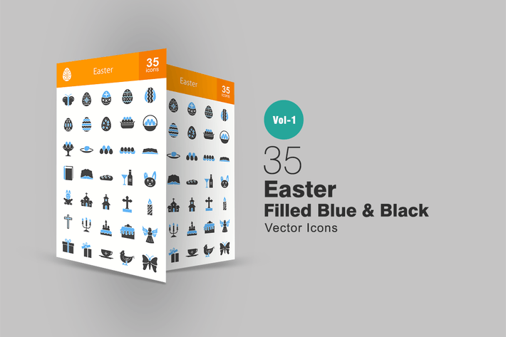 Thumbnail for 35 Easter Blue & Black Icons