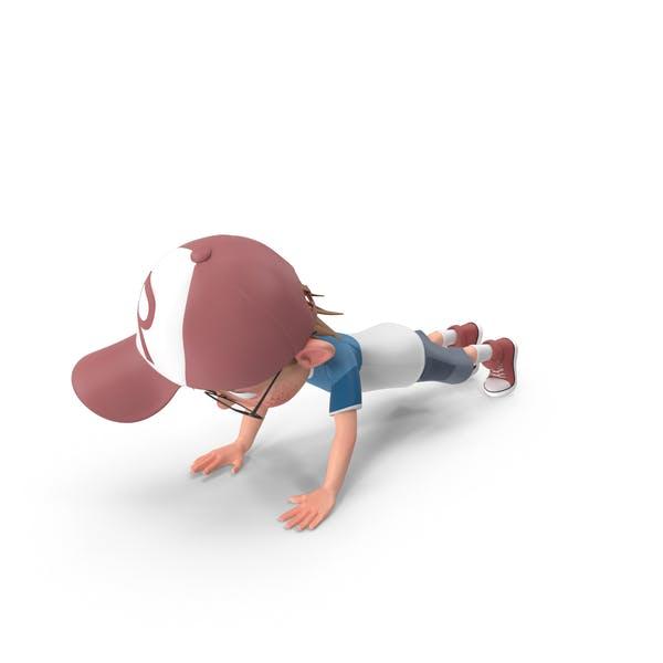 Cartoon Junge Harry tun Push-ups