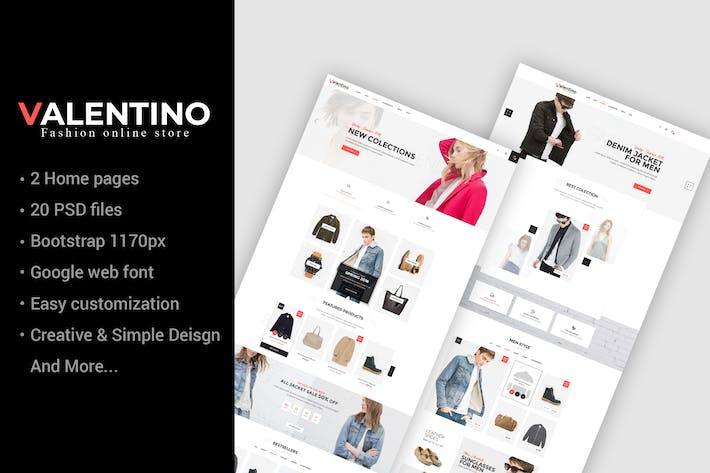 Thumbnail for Valentino - Multipurpose eCommerce PSD Template