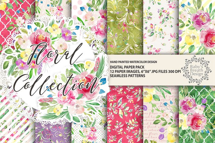 Thumbnail for Floral digital paper pack