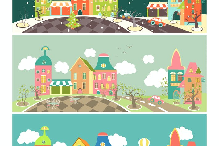 Thumbnail for Urban landscape of four seasons. Vector