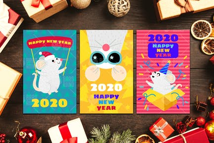 2020 Happy New Year With Mouse Set