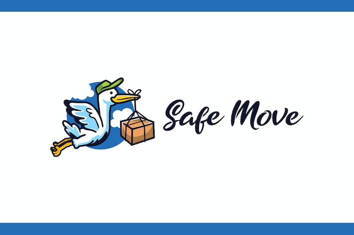 Thumbnail for Cartoon Stork Mascot - Moving and Storage Service