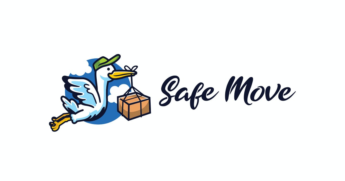 Download Cartoon Stork Mascot - Moving and Storage Service by Suhandi