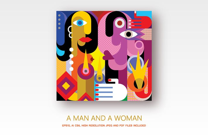 Cover Image For A Man And A Woman vector illustration