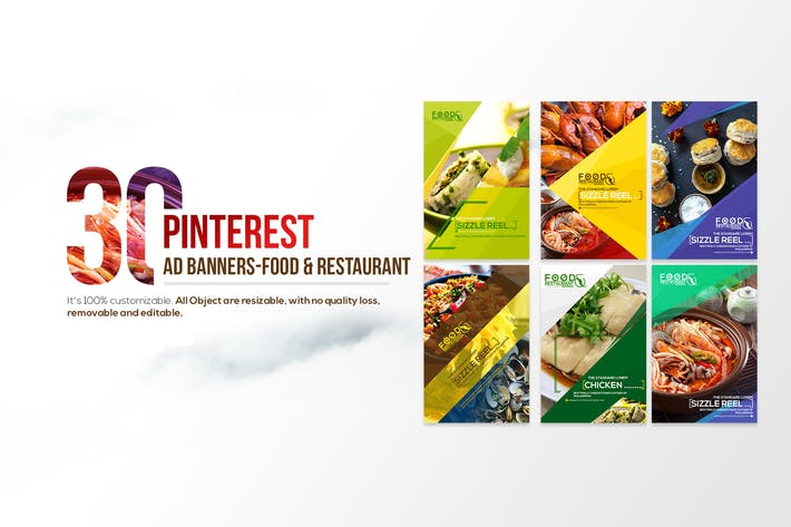 Thumbnail for 30 Pinterest ad banners-Food & Restaurant