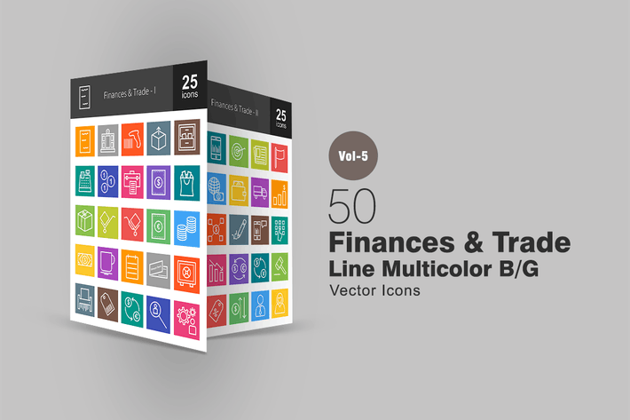 50 Finances & Trade Line Multicolor Icons
