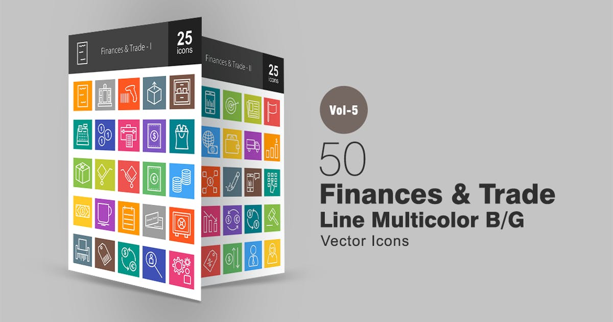 Download 50 Finances & Trade Line Multicolor Icons by IconBunny