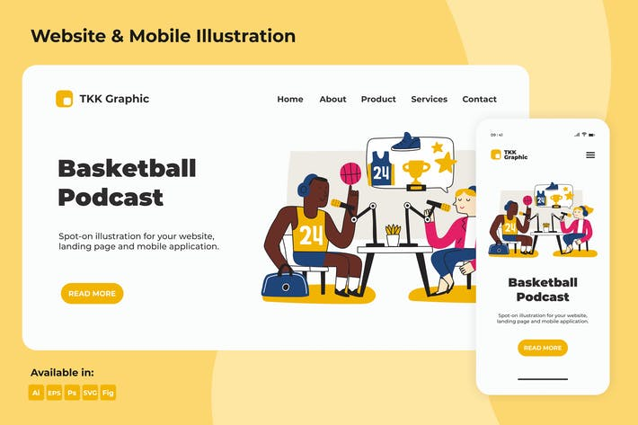 Thumbnail for Basketball Podcast  Landing page & Mobile design