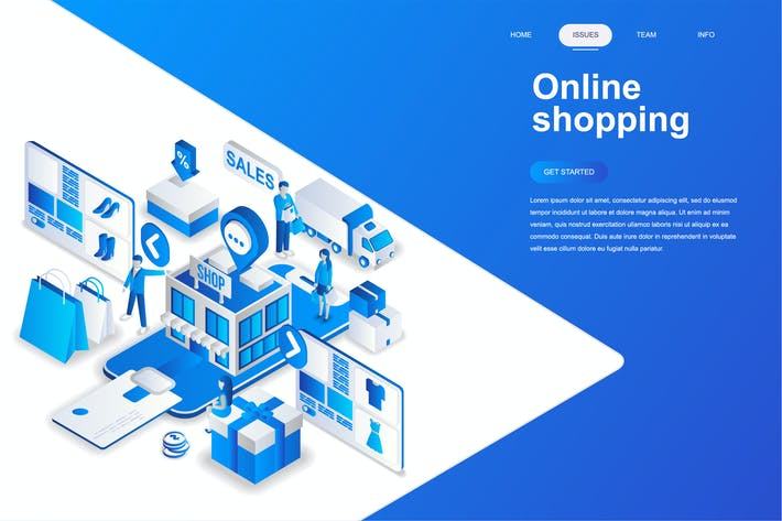 Cover Image For Online Shopping Isometric Concept