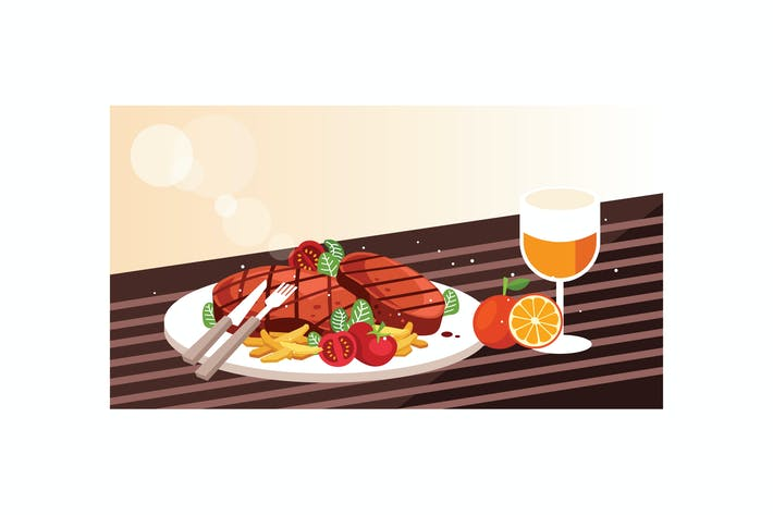 Thumbnail for Delicious grilled beef steak and orange juice